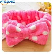 ATOZWIG Big Bow Dot Striped Soft Hair Band Head Wrap Headband Bath Spa Headband Make