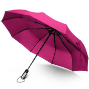 Rainlax Travel Windproof Umbrella Unbreakable Lightweight 10 Ribs Automatic Compact Canopy Umbrellas for Men/Women One Handed Operation