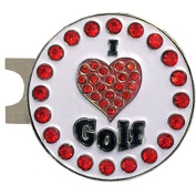 Giggle Golf Bling I Love Golf Red Golf Ball Marker With A Standard Hat Clip