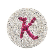 K- Initial Micro Pave Crystal Ball Marker (Pink) w/ Hat Clip