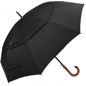 G4Free Wooden J Handle Classic Golf Umbrella Windproof Auto Open 130cm Large Oversized Double Canopy Vented Stick Umbrellas for Men Women