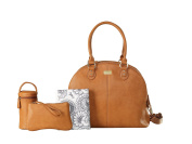 Large Premium Tan Nappy organiser bags 3 compartments with changing mat purse and insulated bottle tote