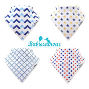 BabiesAmour Bandana Baby Bibs, Extra Soft and Quickly Dry, Gift Set for Boy