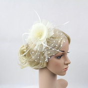 Meiliy Womens Fascinator Hat with Clip and Brooch Flower Bridal Headpieces For Wedding Performance and Party, White