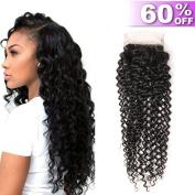 Iris Queen Hair 10cm x 10cm Free Part Lace Closure Brazilian Curly Virgin Human Hair Lace Closure Natural Black 30cm Natural Colour