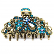 NEW Fancy Blue Austrian Crystal Hair Claw Clip Clamp Wedding Ribbon Bow Metal 4 colour