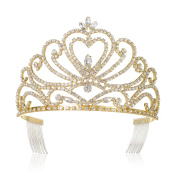 DcZeRong Gold Tiara Prom Crown Gold Prom Tiara Queen Tiara Crown Women Prom Crowns Pageant Tiaras