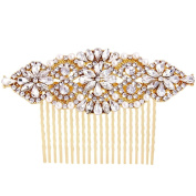 Fairy Moda Crystal Pearl Bridal Hair Comb Gold Wedding Hair Accessories Long