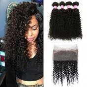 Mink Hair Brazilian Curly with 360 Frontal (24 26 28+20) 7A Grade Kinkys Curly Hair Bundles Virgin Human Hair Extensions with 360 Free Part Lace Frontal Closure Natural Colour