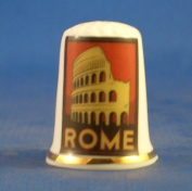 Porcelain China Collectable Thimble - Travel Poster Series Rome -- Free Gift Box