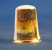 Porcelain China Collectable Thimble - Travel Poster Series Cuba -- Free Gift Box