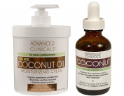 Advanced Clinicals Coconut Skin Care Value Set! 470ml Coconut Oil Moisturising Cream and 50ml Coconut Face oil set. Best coconut cream and oil for face, body and hair.