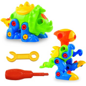 LURICO Take Apart Dinosaurs Creative and Play Puzzle Toy DIY Take-apart Pull Along Toys 2 Sets Assemble and Disassemble Play Set with Tools for Kids over . Old (Assorted Colour)