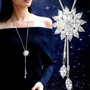 Gluckliy Women Charm Crystal Rhinestones Necklace Sweater Chain with Snowflake Pendant