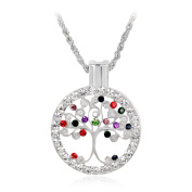 Skyllc® The Tree of Life Disc Crystal Rhinestone Inlaid Pendant Necklace Silver