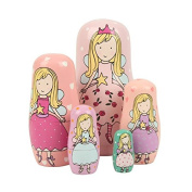 Veewon Nesting Doll Handmade Wooden Fairy Russian Angel Style Toy Set - 5pcs