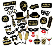 Veewon 30th Birthday Party Photo Booth Props Unisex Funny 36pcs DIY Kit Suitable for His or Hers 30th Birthday Celebration Photobooth Prop
