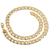 """Unisex 7mm Width Gold Plated Chain Link Necklace 24"""""""