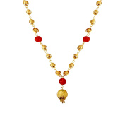 80cm Real Gold Look Alike Red Crystals Bollywood Mala Chain Necklace For Women India