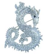 Sindary 6cm Clear Austrian Crystal Unique Animal Dragon Brooch Pin Pendant UKB2980