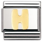 Nomination Composable Classic Letter H Stainless Steel and 18K Gold