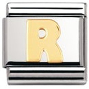 Nomination Composable Classic Letter R Stainless Steel and 18K Gold
