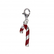 Silver & Red Enamel Candy Cane Sterling Silver Clip-On Charm - For Thomas Sabo Style Charm Bracelets