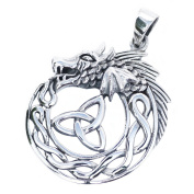 Solid Sterling Silver Celtic Dragon with Triquetra Trinity Knot Pendant