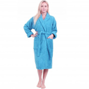 Turquoise BLUE Bathrobe UNISEX shawl collar LUXURY 100% COTTON Terry Towel Bathrobes, terry bath robe, 450 GSM cotton bathrobe