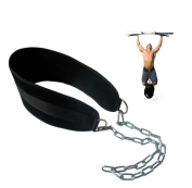 Grofitness Pull-up Belt Weighted Dip Belt with Chain Double D-ring Weightlifting Back Support Strap Home Gym Equipment Waist Belt