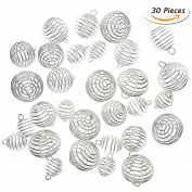 KeyZone 30 Pieces Silver Plated Spiral Bead Cages Pendants for Jewellery Making, 3 Sizes
