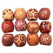 100 PCS 10mm Large Hole Painted Wooden Beads for DIY Making Bracelet Necklace Jewellery Hair Macrame Craft Project Random Style