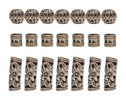 Teemico 30 Pieces Retro Tibet Silver Alloy Ribs Beads for Bracelet Jewellery Making Dreadlocks Tube Braiding Hair Decoration Accessories