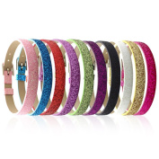 Ginooars 20pcs Mix Shining Colours 8mm Slide Wristbands/Bracelets for 8mm Slide Letters,Jewellery Making Charms