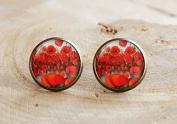 Poppy stud Earring,Flower Earring, poppy jewellery, remembrance Earring, poppy jewellery