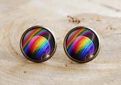 Rainbow Planet Earrings,Gay Pride Stud ,Rainbow art Jewellery, Space Planet Earrings, Rainbow Stud, Rainbow Space