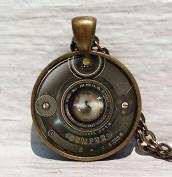 Vintage camera pendant, camera lens necklace, camera lens pendant, photographer jewellery photography gift, old camera, necklace for men