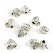 Qty 10 Pieces Silver Tone Jewellery Making Charms Filigrees W4YV1 Flower Bead Bail Cord Ends