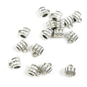 Qty 20 Pieces Antique Silver Tone Jewellery Making Supply Charms Findings X1CG4 Tube Bead Bail Cord Ends