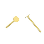 3 Pairs Sterling Silver Stud Post Earring with Glue on 3mm Flat Pad, 24kt Gold Plated