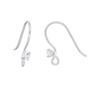 2 pairs Sterling Silver CZ French Hook Ear Wire Earring Connector