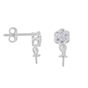 1 Pair Sterling Silver CZ Floral Dangle Push Back Earring Connector with 3mm Pearl / Bead Cup