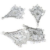 Qty 40 Pieces Tone Jewellery Making Charms Filigrees U2FL5 Rhombus Ear Drop Connector End Bars