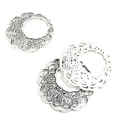Qty 70 Pieces Antique Silver Tone Jewellery Making Supply Charms Findings V3FR6 Flower Ear Drop