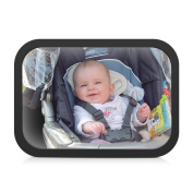 Rectangle Baby Back Seat Mirror with Double Fixed Tape, wider vision View Rear Facing Infant in Backseat , Best Newborn Safety With Crash Tested and Certified,Secure Car Essential Accessory