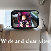SEWTL Baby Car Mirror for Rear Facing Infant Seat - Wide View Shatterproof 360 Degree Adjustable Fully Assembled Baby Mirror for Monitoring Safety - with a Cloth and 2 Headrest Hooks