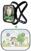 Baby Car Mirror With Bonus Protective Sun Shade by Beastly Baby   Adjustable Straps, Shatterproof Glass, Great Visibility, Fully Assembled   Facilitate Travelling & Have Constant Eye Contact