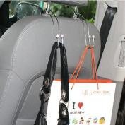 Auwer 2Pcs Stainless Steel Universal Car Vehicle Seat Back Headrest Hanger Holder Hook Portable for Bag Purse Cloth Grocery Coat Organiser
