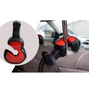 Auwer 2Pcs Cute Violin Shape Universal Car Vehicle Seat Back Headrest Hanger Holder Hook Portable for Bag Purse Cloth Grocery Coat Organiser