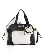 Betsey Johnson 3pc Weekender Multi-Function Nappy Satchel Tote Bag with Changing Mat - Cream/Black